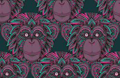 Seamless pattern with hand drawn  ornate zentagle chimpanzee mon Royalty Free Stock Image