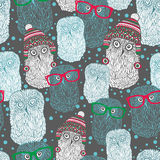 Seamless pattern with hand drawn owls in vintage Royalty Free Stock Images