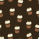 Seamless pattern with hand drawn and painted cupcakes. Vector gr Stock Image