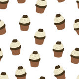 Seamless pattern with hand drawn and painted cupcakes. Stock Images