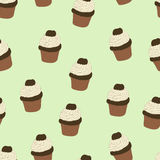 Seamless pattern with hand drawn and painted cupcakes. Royalty Free Stock Photo