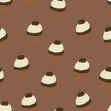 Seamless pattern with hand drawn and painted cupcakes. Stock Photo