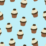 Seamless pattern with hand drawn and painted cupcakes. Royalty Free Stock Photos