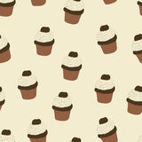 Seamless pattern with hand drawn and painted cupcakes. Vector graphic. Royalty Free Stock Image