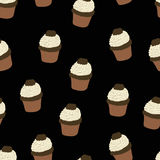 Seamless pattern with hand drawn and painted cupcakes. Vector graphic. Stock Photo
