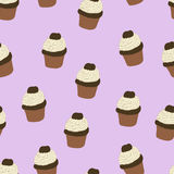 Seamless pattern with hand drawn and painted cupcakes. Vector graphic. Stock Image
