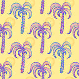 Seamless pattern with hand drawn palm trees. stock illustration