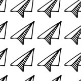 Seamless pattern hand drawn paper airplane. Doodle black sketch. Sign symbol. Decoration element. Isolated on white background. Flat design. Vector stock illustration