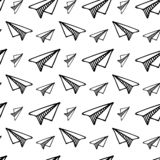 Seamless pattern hand drawn paper airplane. Doodle black sketch. Sign symbol. Decoration element. Isolated on white background. Flat design. Vector vector illustration