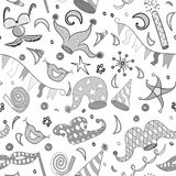Seamless Pattern of Hand Drawn Party Symbols. Children Drawings of Party Elements. Stock Photography
