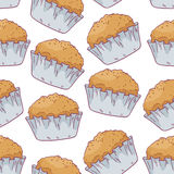 Seamless pattern with hand drawn pastries in vector Stock Image