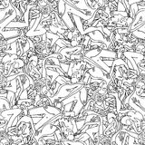 Seamless pattern with hand drawn people. Retro seamless pattern with hand drawn sketches of people Stock Photo