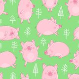 Seamless pattern of hand-drawn pigs and Christmas trees on an isolated green background. Vector illustration of piglets for the Ne. W Year, prints, wrapping royalty free illustration