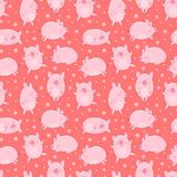 Seamless pattern of hand-drawn pigs and snowflakes on an isolated red background. Vector illustration of piglets for the New Year, royalty free stock photography
