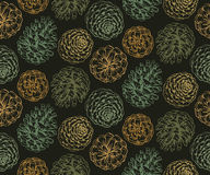 Seamless pattern with hand drawn pine cones. Seamless pattern with pine cones and branches. Hand drawn sketch vector illustration. Endless background in green Stock Photo