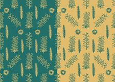 Seamless pattern with hand drawn pine fir branches Royalty Free Stock Photo
