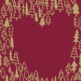Seamless pattern with hand drawn pine forest heart Royalty Free Stock Photo