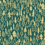 Seamless pattern hand drawn pine forest Stock Photo
