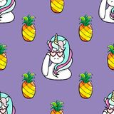 Seamless pattern with hand drawn pineapple and a magic unicorn. Seamless pattern with hand drawn pineapple and a magic unicorn Stock Photo