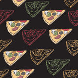 Seamless pattern with hand drawn pizza slices. Great for restaurant, cafe, bars, tea ads, wallpaper, wrapping paper Stock Images