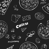 Seamless pattern with hand drawn pizza slices. royalty free stock photos