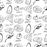 Seamless pattern with hand drawn pizza slices. stock photography