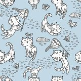 Seamless pattern with hand-drawn playful kittens with birds, but. Terfly, stones. Cute pet pattern in doodle style can use for wrapping paper, print on textiles royalty free illustration
