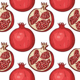 Seamless pattern with hand-drawn pomegranates Royalty Free Stock Photo
