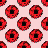 Seamless pattern with hand-drawn poppy flowers Royalty Free Stock Photos