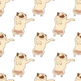 Seamless pattern with hand drawn pug dogs Stock Photography