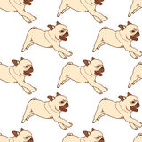 Seamless pattern with hand drawn pug puppies Royalty Free Stock Photography