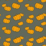 Seamless pattern with hand drawn pumpkins. stock illustration