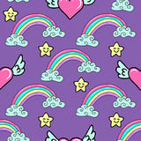 Seamless pattern with a hand drawn rainbow, stars and flying hearts. Royalty Free Stock Photos