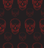 Seamless pattern with hand-drawn red skull Royalty Free Stock Photos
