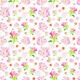 Seamless pattern with hand drawn rose flowers. stock images