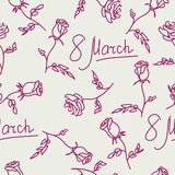 Seamless pattern of hand drawn roses. March 8. Vector illustrati. On stock illustration
