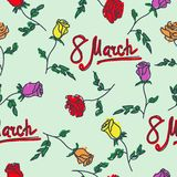 Seamless pattern of hand drawn roses. March 8. Vector illustration Royalty Free Stock Photos