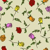 Seamless pattern of hand drawn roses. Vector illustration Stock Photo