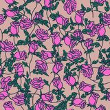 Seamless pattern of hand drawn roses. Vector illustration.  vector illustration