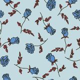 Seamless pattern of hand drawn roses. Vector illustration.  stock illustration