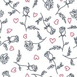 Seamless pattern of hand drawn roses. Vector illustration.  Stock Photo