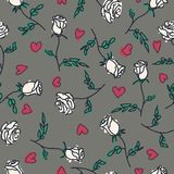 Seamless pattern of hand drawn roses. Vector illustration.  Royalty Free Stock Images