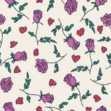 Seamless pattern of hand drawn roses. Vector illustration Stock Photography