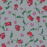 Seamless pattern of hand drawn roses. Vector illustration.  royalty free illustration