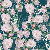 Seamless pattern with hand drawn sakura flowers with green leaves and herbs. royalty free illustration