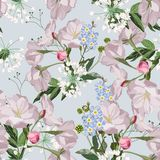 Seamless pattern with hand drawn sakura, forget-me-not flowers with green leaves and herbs. royalty free illustration