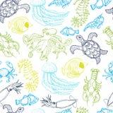 Seamless pattern with hand drawn sea animals Stock Photo