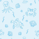 Seamless pattern with hand drawn sea life Royalty Free Stock Photos