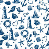 Seamless pattern hand drawn sea themed objects. Seagull, Royalty Free Stock Images