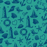 Seamless pattern hand drawn sea themed objects. Stock Images